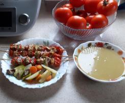 Szaszłyki z kurczaka z warzywami na parze oraz zupa z czerwonej soczewicy
