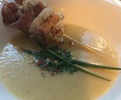Szaszłyki i zupa z białej rzodkwi