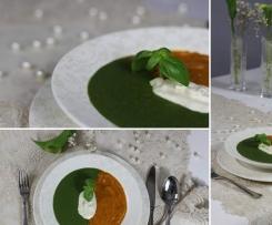 Dwukolorowa zupa krem pomidorowo - szpinakowy