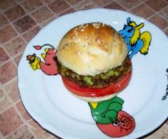 Burger buns z zielonym hamburgerem