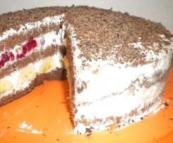 Tort malinowo-bananowa fantazja