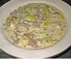 Szybka  i smaczna zupa z pora z mięsem mielonym
