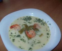 """""""Śródziemnomorskie  natchnienie"""" zupa krem -szparagowy z krewetkami"""
