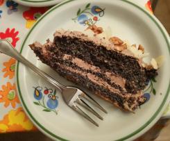 Tort makowy z masą kawową