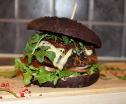 Gorgonzola burger w czarnej brioszce