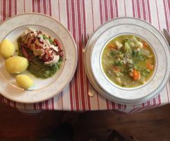 Zupa warzywna i kurczak na drugie danie