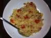 risotto z boczkiem, porem i pomidorkami