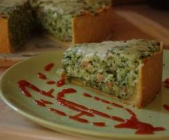 Tort szpinakowo-ryżowy z boczkiem