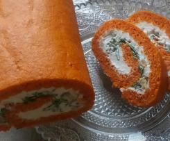 Rolada paprykowa z serem kozim orzechami włoskimi i rukolą